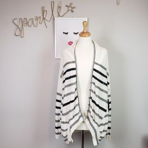 NWT Anthro Line Stripe Linen Cacoon Cardigan
